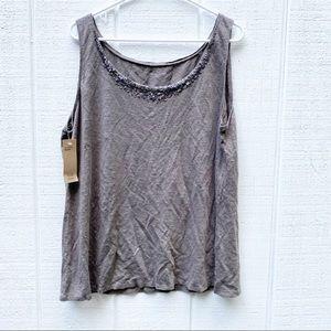 Eileen Fisher linen tank top sequins neckline 1X